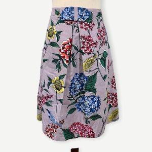 BODEN Sz 6L Grace Lilac Lavender Floral Birds Skirt Sz 6 Long Bow Detail